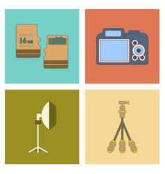 Assembly flat icon technology camera professional vector