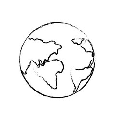 Figure earth planet with global geographys vector
