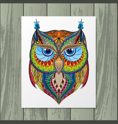 Owl silhouette with paper vector