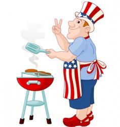 man cooking hamburger vector image