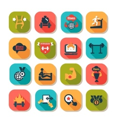 fitness and health icons vector image