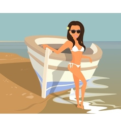 Brunette woman wearing white swimsuit is posing vector
