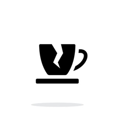 Broken cup icon on white background vector