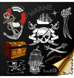 Marine theme icons set vector