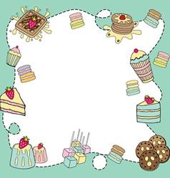 bakery doodle border blank vector image