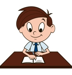 Boy at the desk vector