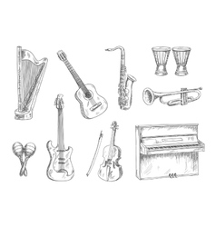 Musical instruments sketch icons for art design vector image