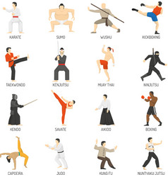 Martial arts decorative flat icons set vector