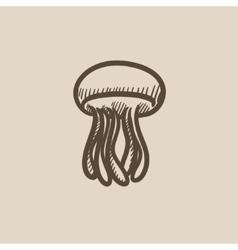 Jellyfish sketch icon vector