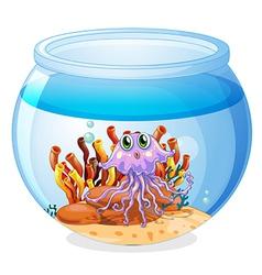 A squid inside the aquarium vector image vector image