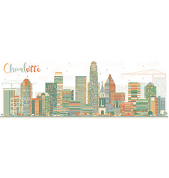 Abstract charlotte skyline with color buildings vector