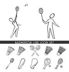 Badminton line icon set vector image vector image