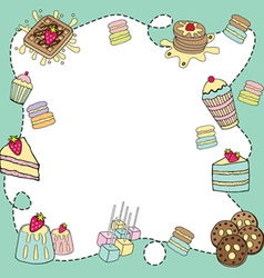 bakery doodle border blank vector image