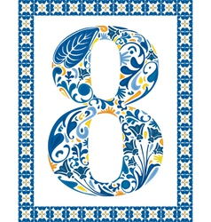 Blue number 8 vector