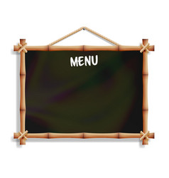 cafe menu board with bamboo frame isolated on vector image vector image