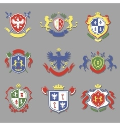 Coat of arms collection heraldry shields design vector