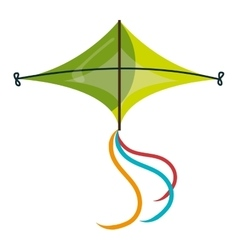 Colorful green kite flying vector