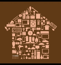 Design element household in home shape vector