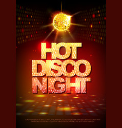 disco ball background disco poster hot night vector image