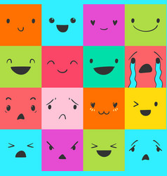 Emoticons square doodle 2 vector