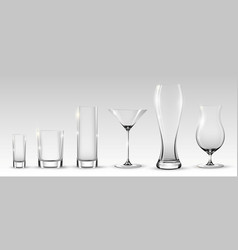 empty realistic glasses set vector image vector image