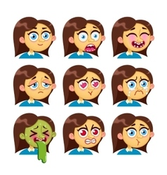 Girl emotion faces vector