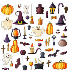 goast pumpkin hat icons set of hallowen vector image