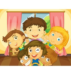 Happy boys and girls in the house vector image vector image