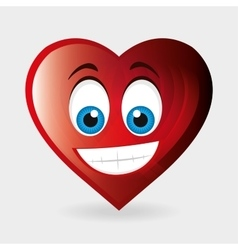 Heart character happy and blue eyes vector