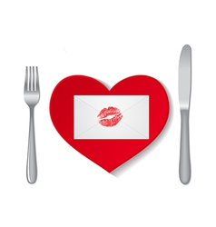 heart plate vector image vector image