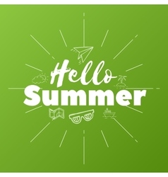 Hello summer text on green background vector