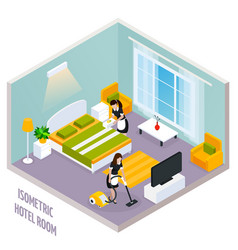 Isometric hotel room interior vector