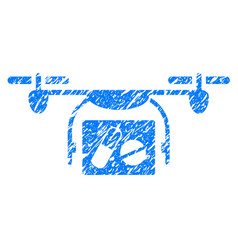Medical quadcopter grunge icon vector