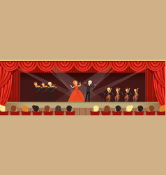 opera singers singing on stage with symphonic vector image