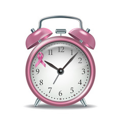 Pink alarm clock with pink ribbon vector