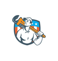 Plumber holding wrench usa flag retro vector