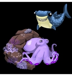 Purple octopus and blue shark two cute characters vector