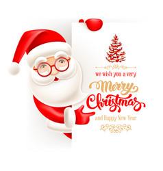 santa claus and christmas greeting card vector image