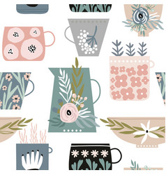 seamless minimalistic pattern with flowers in cups vector image