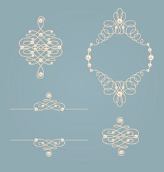 set collection of elegant golden knot frame signs vector image