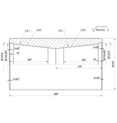 Shaft sketch engineering drawing vector