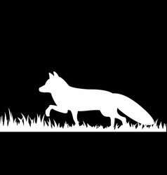 Silhouette of a fox in the grass vector