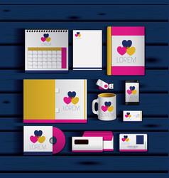 stationary templates of documentation romantic vector image