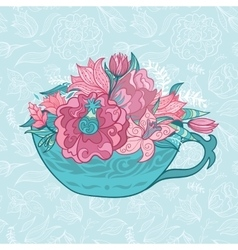 Tea cup with spring flowers vector