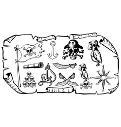 Treasure map with pirate symbols vector
