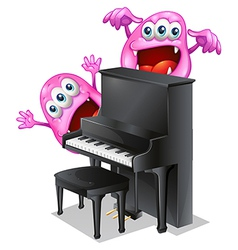 Two pink monsters at the back of the piano vector image vector image
