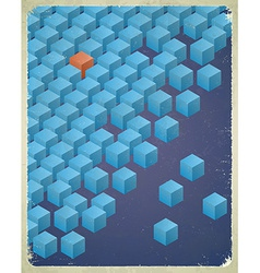 Vintage messy cubes card vector