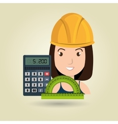 Woman architecture calculator rule vector