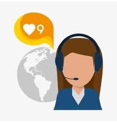 Woman headphone avatar call center design vector