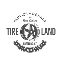 Vintage label design Tire service emblem in vector image
